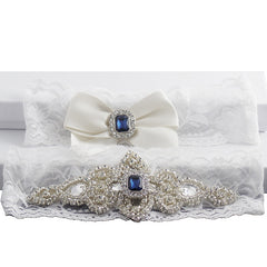 Classic Vintage Ivory Lace Garter Set with Blue Stone and Rhinestones - Gifts Are Blue - 2