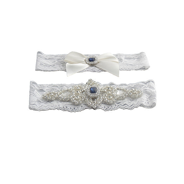 Classic Vintage Ivory Lace Garter Set with Blue Stone and Rhinestones