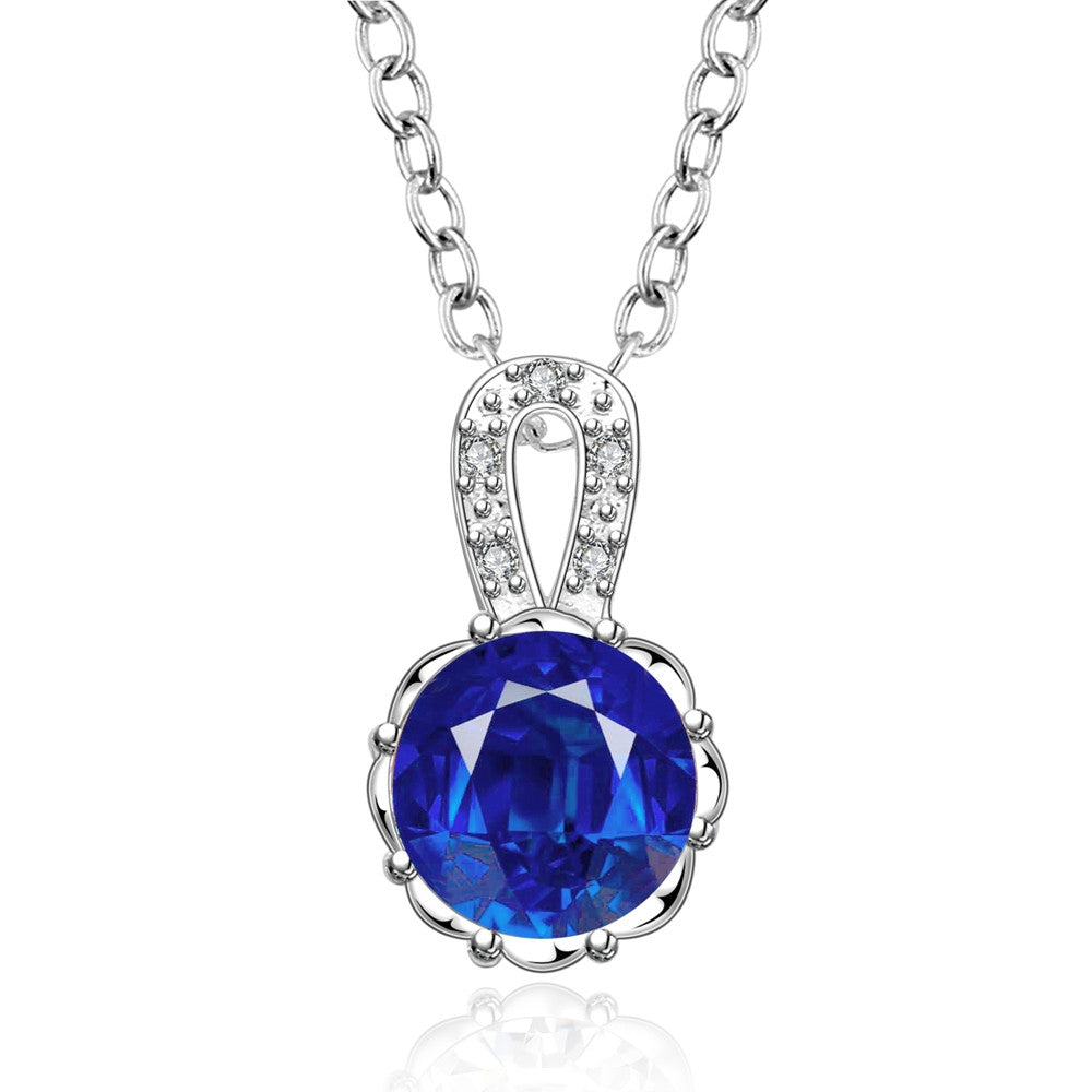 Classic Silver-Plated Necklace with Blue Cubic Zirconia Pendant - Gifts Are Blue - 1
