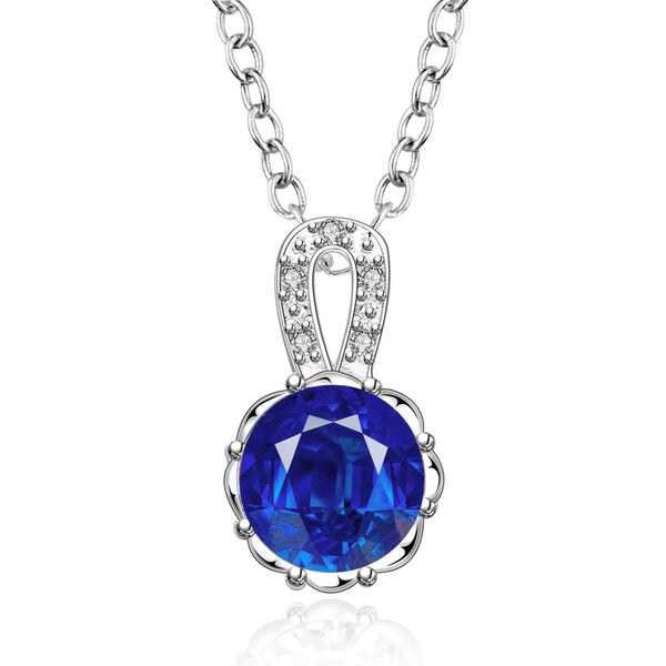 Classic Silver-Plated Necklace with Blue Cubic Zirconia Pendant