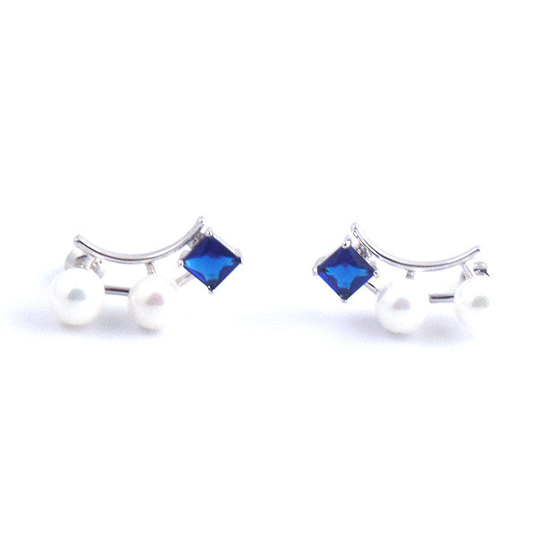 Classy Blue Sapphire White Pearl Earrings Stud - Gifts Are Blue - 1