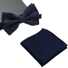 Mens Matching Navy Blue Bow Tie and Handkerchief Gift Set - Gifts Are Blue