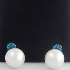 Designer Double Pearl Crystal Earrings with Blue top - Gifts Are Blue - 2