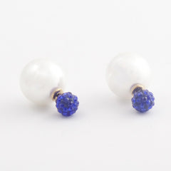 Designer Double Pearl Crystal Earrings with Blue top - Gifts Are Blue - 4