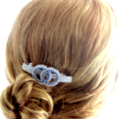 Elegant Double Circles Blue and Silver Rhinestones Hair Clip - Gifts Are Blue - 3