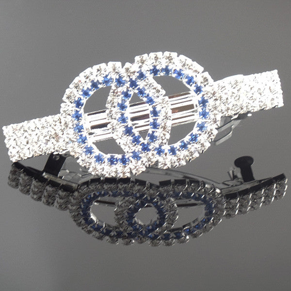 Elegant Double Circles Blue and Silver Rhinestones Hair Clip - Gifts Are Blue - 2