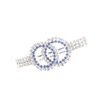 Elegant Double Circles Blue and Silver Rhinestones Hair Clip - Gifts Are Blue - 1