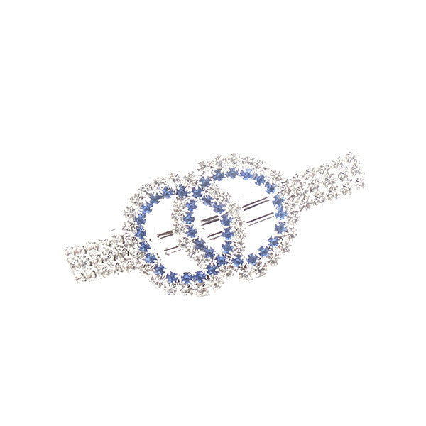 Elegant Double Circles Blue and Silver Rhinestones Hair Clip