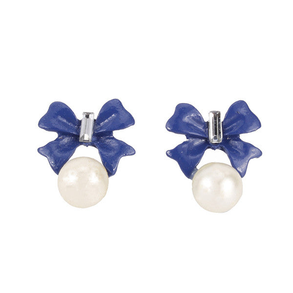 Elegant Blue Bow White Pearl Stud Earrings