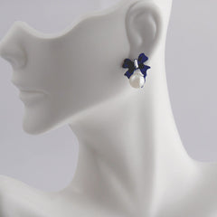 Elegant Blue Bow White Pearl Stud Earrings - Gifts Are Blue - 2