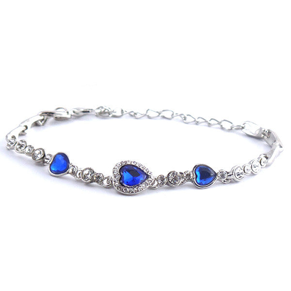Elegant Sapphire Blue Heart Bracelet - Gifts Are Blue - 1