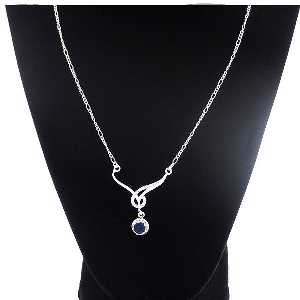 Elegant Silver-Plated Necklace with Blue Sapphire Cubic Zirconia - Gifts Are Blue - 1