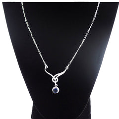 Elegant Silver-Plated Necklace with Blue Sapphire Cubic Zirconia - Gifts Are Blue - 4