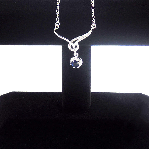 Elegant Silver-Plated Necklace with Blue Sapphire Cubic Zirconia - Gifts Are Blue - 2