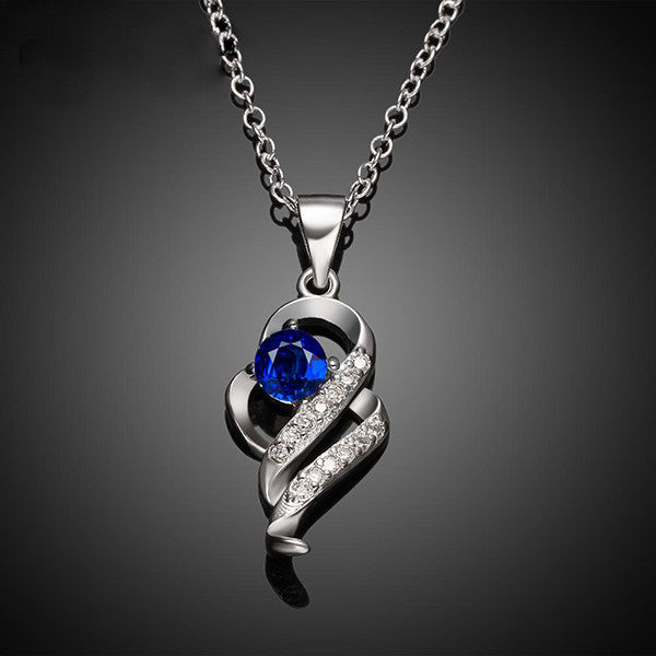 Elegant Silver-Plated Pendant Necklace with Created Blue Sapphire Stone - Gifts Are Blue - 2