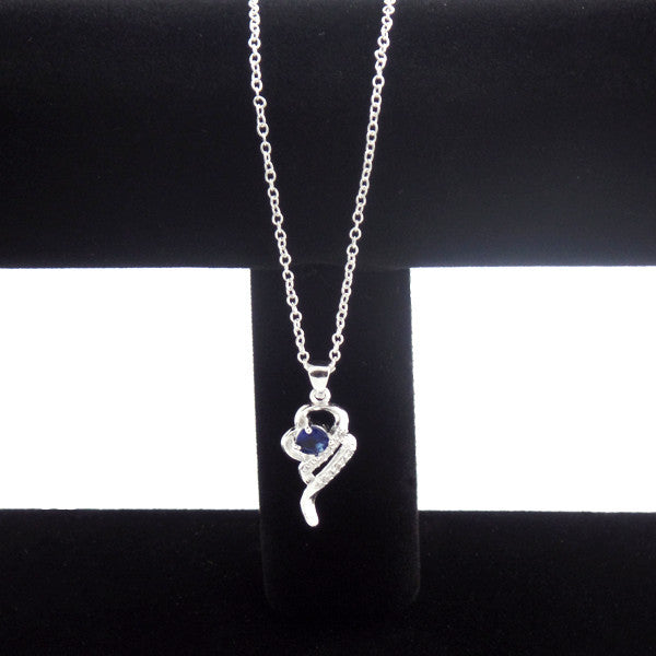 Elegant Silver-Plated Pendant Necklace with Created Blue Sapphire Stone - Gifts Are Blue - 3