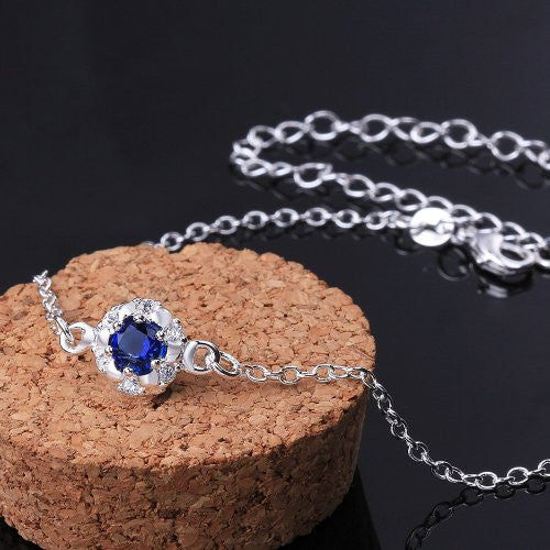 Elegant 925 Sterling Silver Blue Anklet Foot Chain - Gifts Are Blue - 3