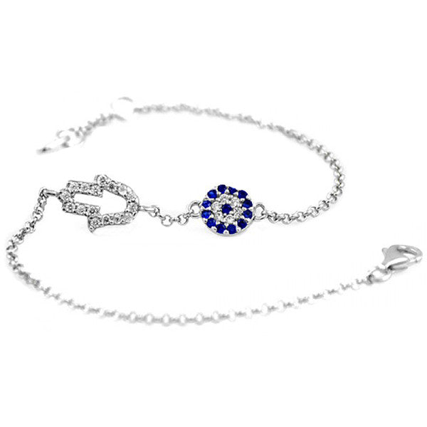 Stylish Evil Eye Blue Silver Plated Bracelet Jewelry - Good Luck Charm - Gifts Are Blue - 1