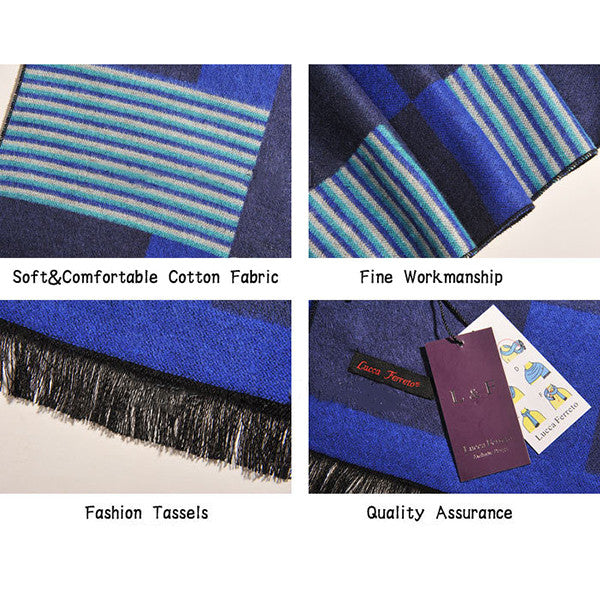 Stylish Mens All Seasons Viscose Cotton Blue Scarf - Gifts Are Blue - 4
