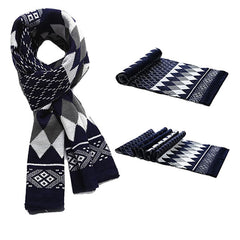Fashionable Mens Warm Winter Cashmere Scarf with Geometric Design - Gifts Are Blue - 2