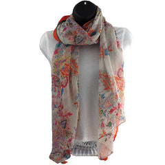Fields and Gardens Blue and Orange Scarf Pashmina Shawl - Gifts Are Blue - 4