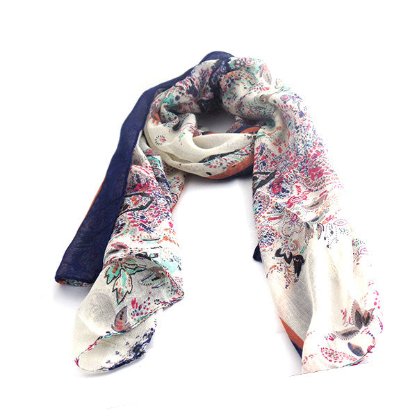 Fields and Gardens Multicolored and Blue Scarf Shawl - Gifts Are Blue - 1