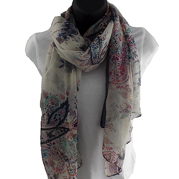 Fields and Gardens Multicolored and Blue Scarf Shawl - Gifts Are Blue - 4