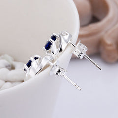 925 Sterling Silver Stud Earrings with Blue Sapphire Stones - Gifts Are Blue - 3