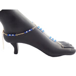 Gold Blue Glass Beads Foot Chain Jewelry, Barefoot Sandals Set - Gifts Are Blue - 2