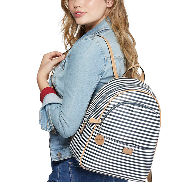 Guess Simmons Navy Blue Striped Backpack, Medium, ST756130, Model