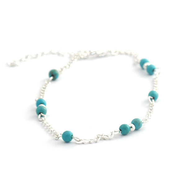 Hand Beaded Blue Anklet Chain