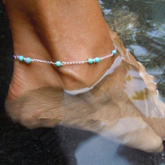Hand Beaded Blue Anklet Chain - Gifts Are Blue - 3