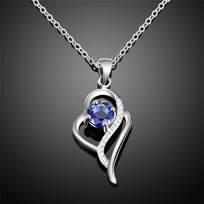 Heart Shaped Sterling Silver Pendant Necklace with Blue Stone - Gifts Are Blue - 2
