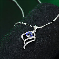 Heart Shaped Sterling Silver Pendant Necklace with Blue Stone - Gifts Are Blue - 3