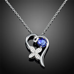 Stylish Sterling Silver Necklace with Blue Cubic Zirconia - Gifts Are Blue - 2