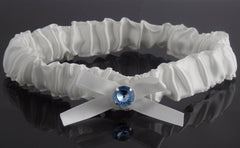 Ivory Satin Bride Wedding Garter with Blue Rhinestone and Bow Knot - Gifts Are Blue - 3