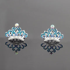 Mini Tiaras Hair Comb Accessory for Wedding / Pageant / Special Occasion - Gifts Are Blue - 3