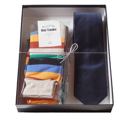 Mens Serious Tie and Whimsical Colorful Socks Gift Sets - Gifts Are Blue - 5