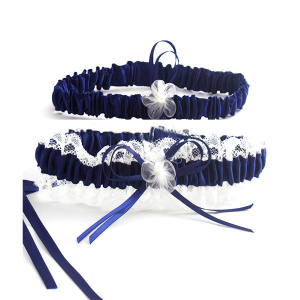 Elegant Navy Blue and Beige Lace Bride Garter Set