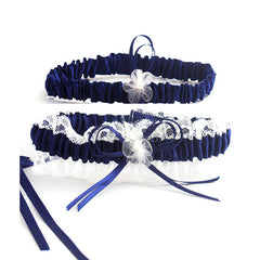 Elegant Navy Blue and Beige Lace Bride Garter Set - Gifts Are Blue - 1