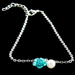 Ocean Blue Rose Anklet Jewelry with Pearl Drop - Gifts Are Blue - 3