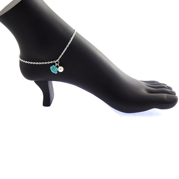 Ocean Blue Rose Anklet Jewelry with Pearl Drop