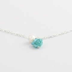 Ocean Blue Rose Anklet Jewelry with Pearl Drop - Gifts Are Blue - 4