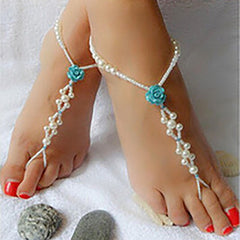 Blue Rose Pearl Beaded Barefoot Sandal Anklet, Beach Wedding Footwear - Gifts Are Blue - 3