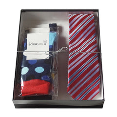 Mens Serious Tie and Whimsical Colorful Socks Gift Sets - Gifts Are Blue - 6