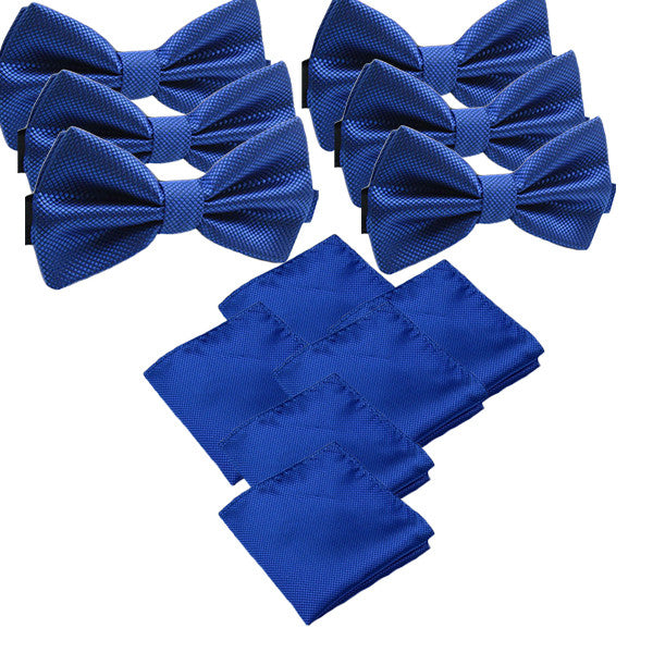 Solid Matching Pre-Tied Bow Tie and Pocket Square Sets for For Formal Events - Gifts Are Blue - 3