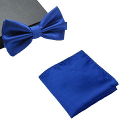 Mens Matching Royal Blue Bow Tie and Handkerchief Gift Set - Gifts Are Blue