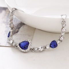 Women's Created Blue Hearts Rhinestone Anklet Jewelry - Gifts Are Blue - 2