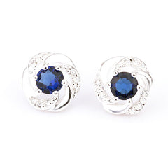 925 Sterling Silver Stud Earrings with Blue Sapphire Stones - Gifts Are Blue - 1