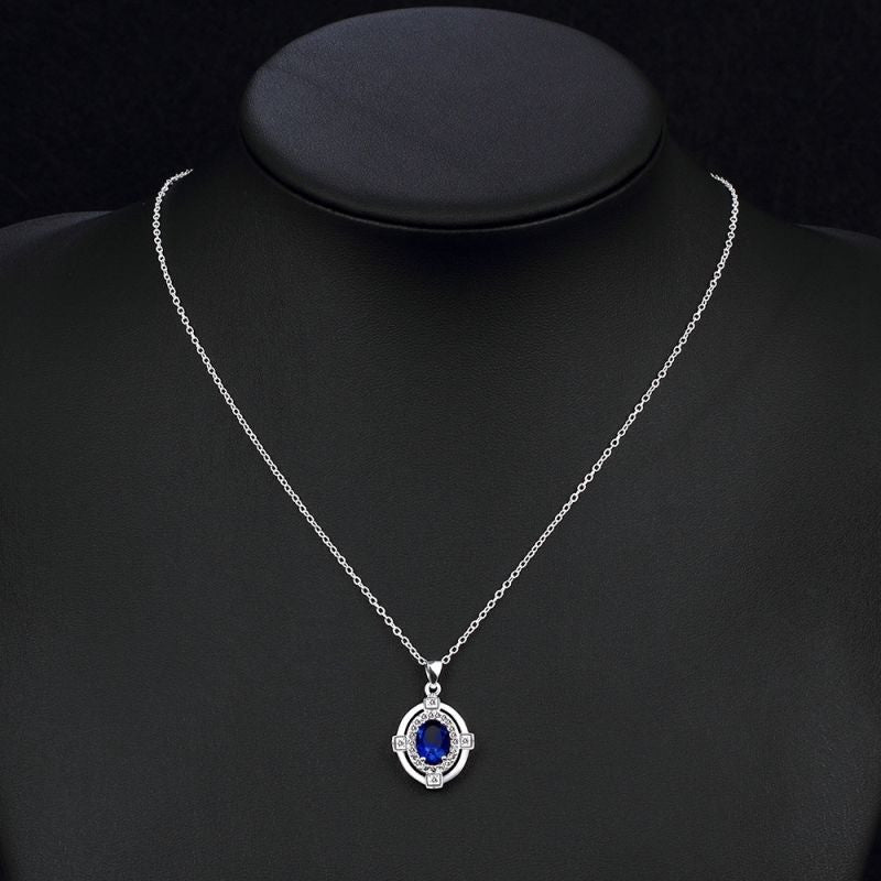 Classic Blue Cubic Zirconia Sterling Silver Necklace - Gifts Are Blue - 3